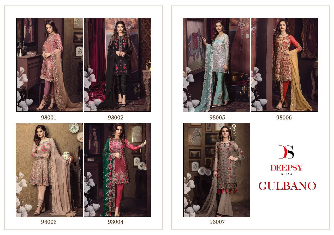 b8681366f5 Deepsy suit gulbano 93001 to 93007 series fancy pakistani style party wear  poly georgette embroidery salwar