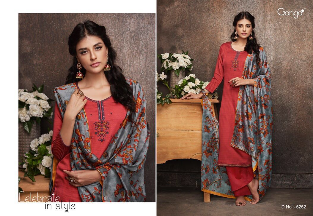 5f3ace9d11 GANGA FASHION SHADES 5253 to 5260 SERIES FANCY cotton satin printed with  Embroidery SALWAR KAMEEZ (