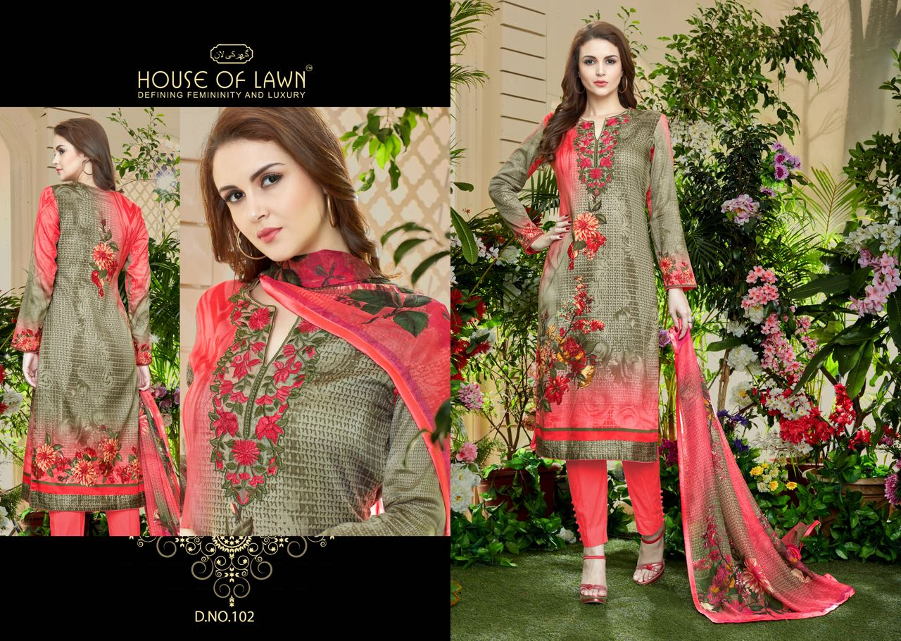 35e508fdde House of lawn muslin vol 1 premium lawn dupatta collection 101 TO 110  SERIES suit (