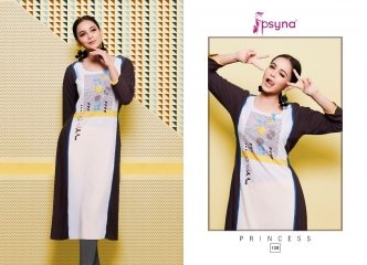 0a7e8fc0c7 Psyna princess vol 10 100 TO 109 SEIRES FANCY party wear RAYON PRINTED  kurties (1