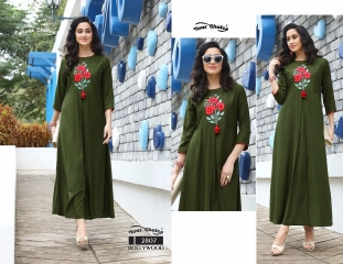 Your choice Bollywood 2805 TO 2810 SERIES FaNCY DESIGNER gown style RAYON Kurties (3)