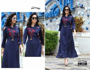 Your choice Bollywood 2805 TO 2810 SERIES FaNCY DESIGNER gown style RAYON Kurties (5)
