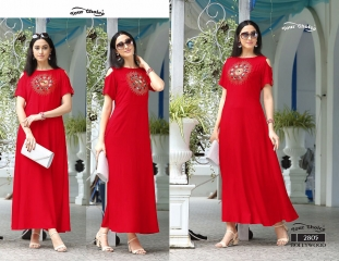 Your choice Bollywood 2805 TO 2810 SERIES FaNCY DESIGNER gown style RAYON Kurties (7)