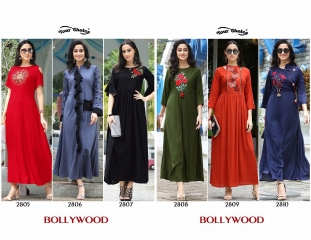 Your choice Bollywood 2805 TO 2810 SERIES FaNCY DESIGNER gown style RAYON Kurties (9)