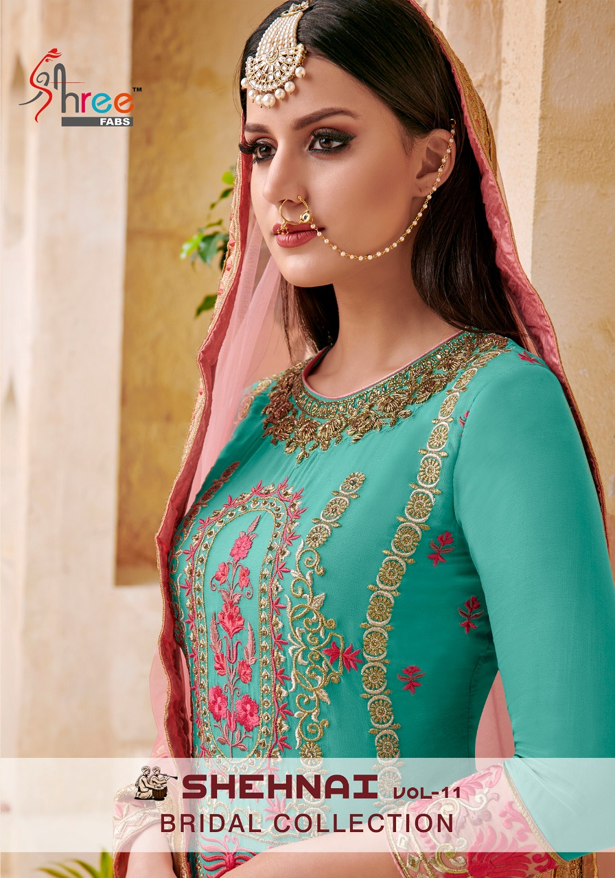 3c5acae502 NITYANX » Shehnai vol 11 bridal collection by shree fabs 6053 series fancy  sarara suit collection wholesale dealer and supplier surat