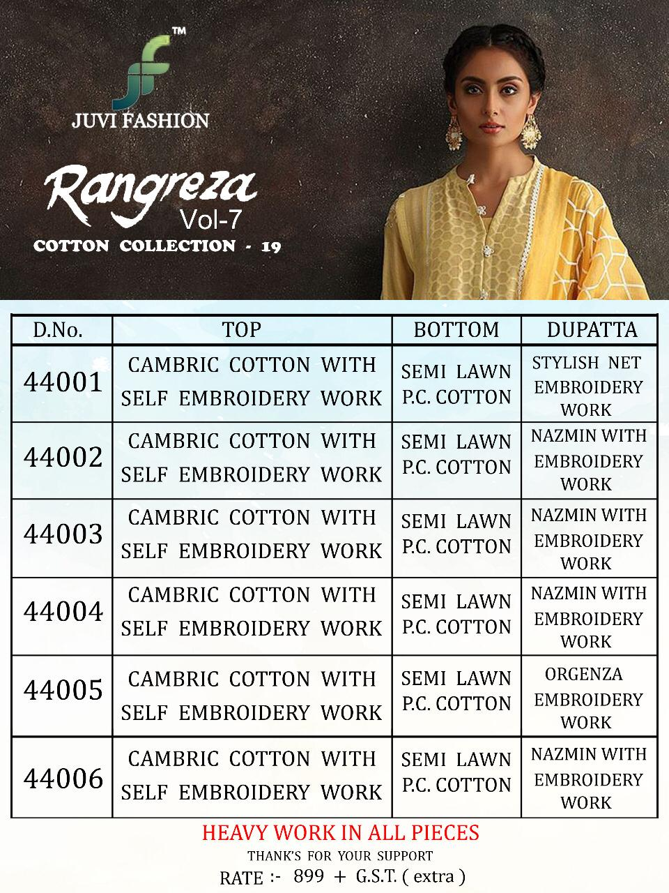 5cf56ba318 ... Image Zip · Download PDF. Rangreza vol 7 cotton collection 19 by juvi  fashion series 44001 to 44006 cambric cotton embroidered designer Pakistani  suits ...
