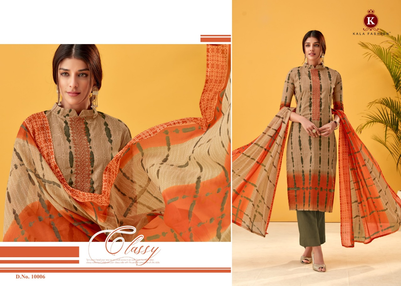 3613fd8a1b Book Tanya 3 by Kala fashion series 10001 to 10006 cotton printed self  embroidered suits wholesale dealer india on +91-9898838984. Download Image  Zip